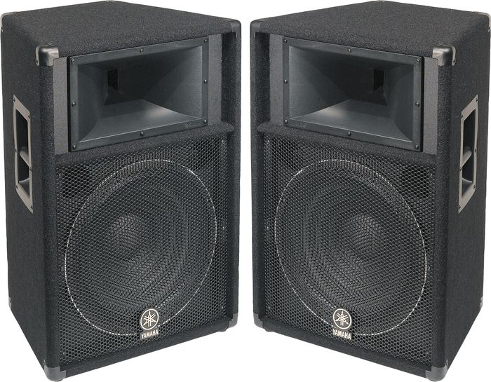 Des Moines PA System Rentals - Yamaha S115V Full Range Speakers (Pair, Includes Stands)